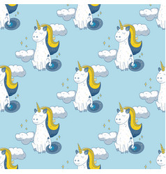 Fairytale unicorn seamless pattern vector