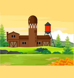 Farm house with autumn forest background vector