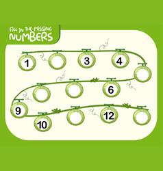 Fill in missing number worksheet vector