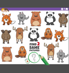 Find two same cartoon animals educational game vector