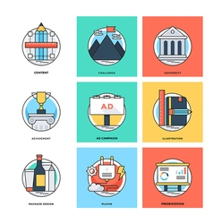 Flat Color Line Design Concepts Icons 13 vector image