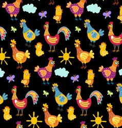 fun chickens seamless pattern background with hand vector image