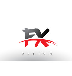 Fx f x brush logo letters with red and black vector