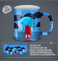 Girlie with umbrella around people colorful vector