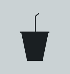 glass icon with drinking straw vector image