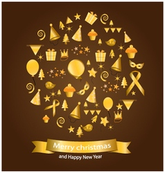 Gold christmas elements vector image