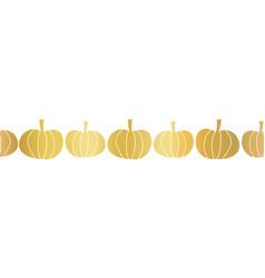 gold foil pumpkins seamless border vector image