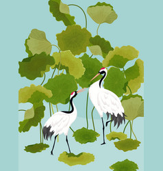Graphic of japaneese cranes and lotus vector