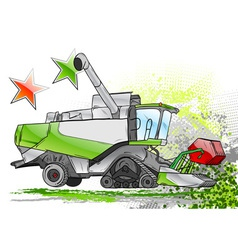 green harvester on the background vector image