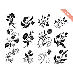 hand drawn doodle floral silhouettes collection vector image