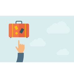 Hand pointing to luggage vector image