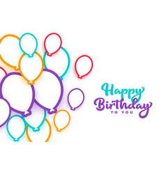 Happy birthday colorful balloons white background vector