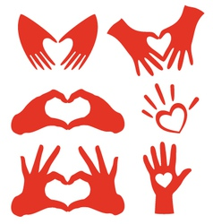heart hands set vector image vector image