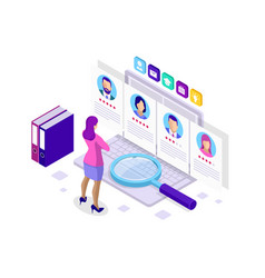 Isometric hiring and recruitment concept for web vector
