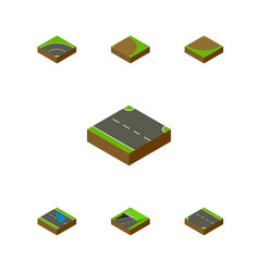 Isometric road set of rotation plash subway and vector