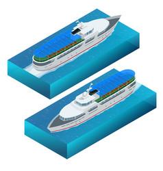 isometric set of a pleasure boat flat vector image