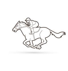 jockey riding horse cartoon sport graphic vector image