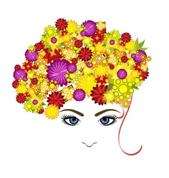 lady with flowers vector image