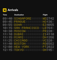 Led airport board isolated template on dark vector