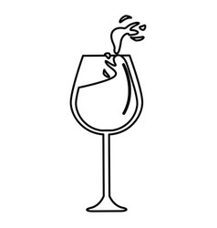 Line glass splashing wine icon vector