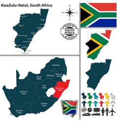 Map of kwazulu natal south africa vector