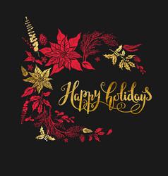 merry christmas holiday dark design vector image