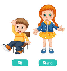 Opposite words with sit and stand vector
