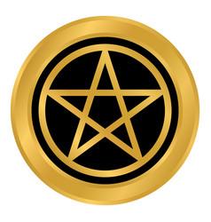 Pentagram button on white vector