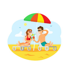 people by seaside drinking cocktails sunny beach vector image