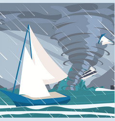 Picture storm caught yachts ocean vector