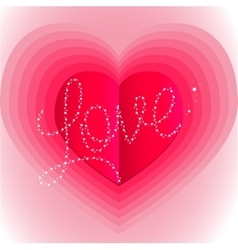 Pink surround the heart with the word love vector