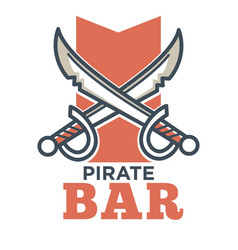Pirate bar flat logo label isolated on white vector