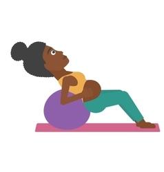 Pregnant woman on gymnastic ball vector image