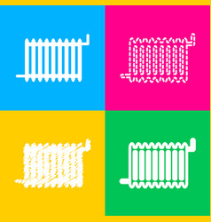 radiator sign four styles of icon on four color vector image
