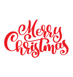 Red text merry christmas hand written calligraphy vector