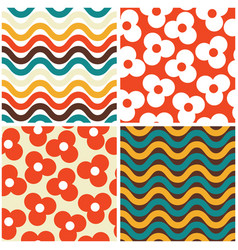 Seamless mid-century modern pattern set vector