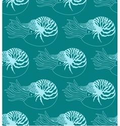 Seamless pattern made of Nautilus Pompilius vector