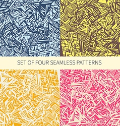 set four abstract seamless patterns vector image