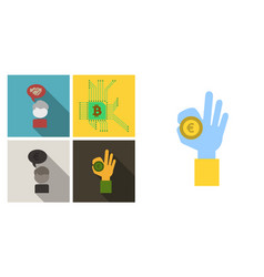 set of economic icons included blockchain vector image