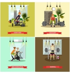 set of gym posters Fitness and sport vector image