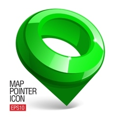 Shiny gloss green Map pointer icon vector