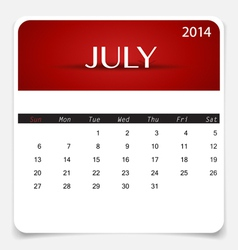 Simple 2014 calendar July vector image