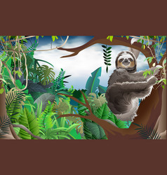 Sloth on tree in jungle vector