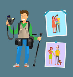 smiling photographer with professional equipment vector image