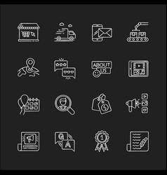 social media story chalk white icons set on black vector image