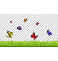 spring background realistic grass color flying vector image