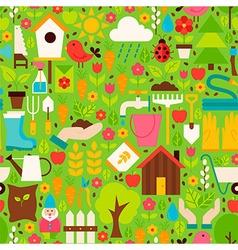 Spring Garden Flat Design Green Seamless Pattern vector