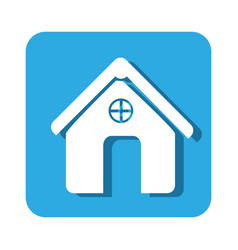 Square button simple facade house icon design vector
