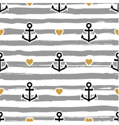 striped pattern marine anchors and hearts vector image