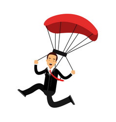 successful businessman character with parachute vector image